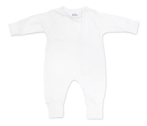 Macacão Manga Longa Bebê Com Zíper E Vira-pé Branco