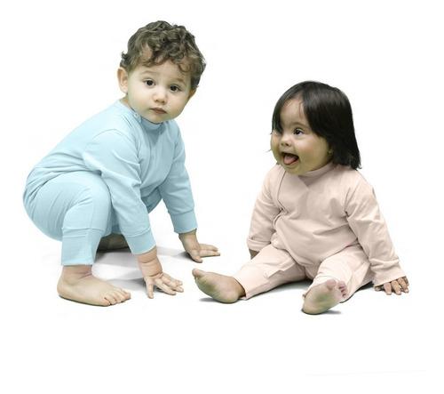 Macacão Manga Longa Bebê Com Zíper E Vira-pé Rosa