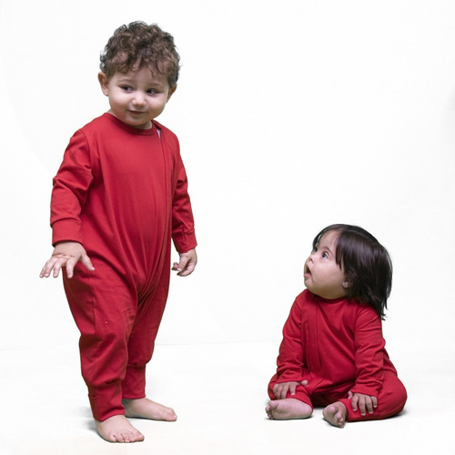 Macacão Manga Longa Bebê Com Zíper E Vira-pé Vermelho