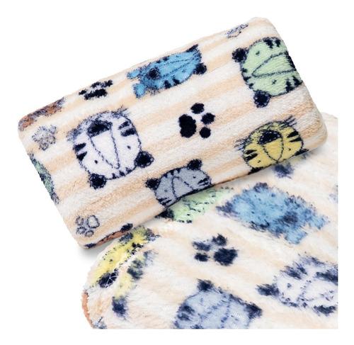 Manta Bebê Microfibra Bichinhos Coloridos Palha
