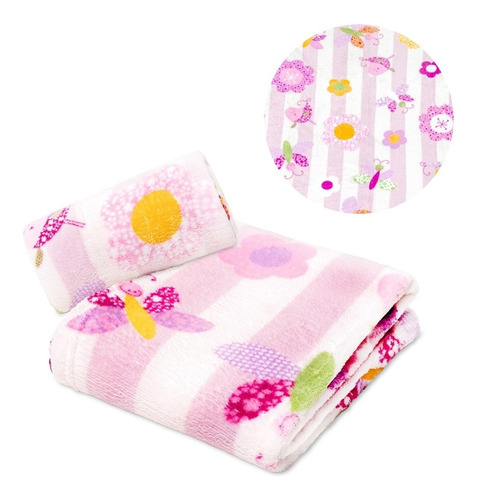 Manta Bebê Microfibra Flores E Borboletas Rosa