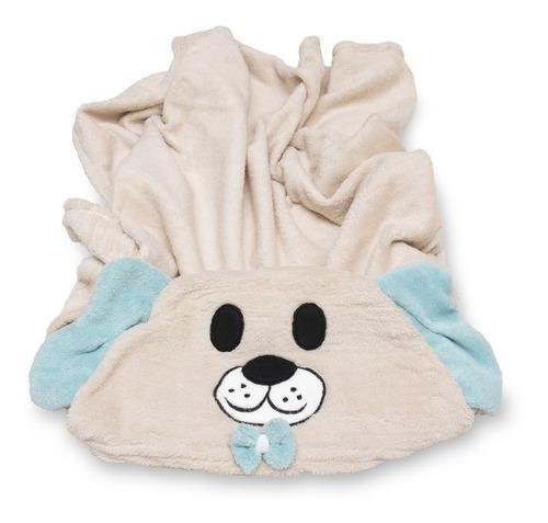 Manta Soft Microfibra Bebê E Infantil C/ Capuz Cachorro Azul