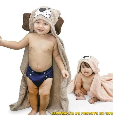 Manta Soft Microfibra Bebê E Infantil Com Capuz Coelho Azul