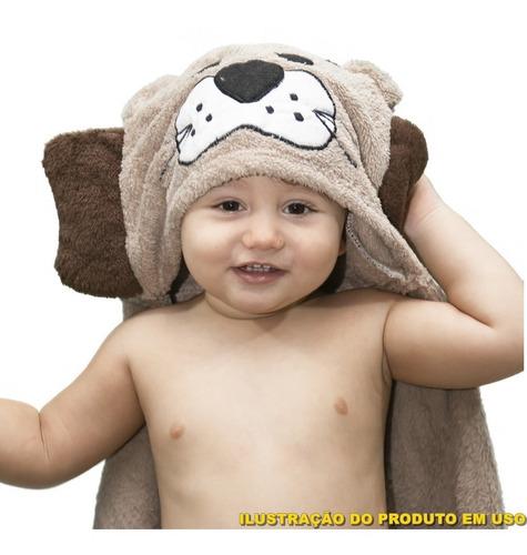 Manta Soft Microfibra Bebê E Infantil Com Capuz Leão Bege