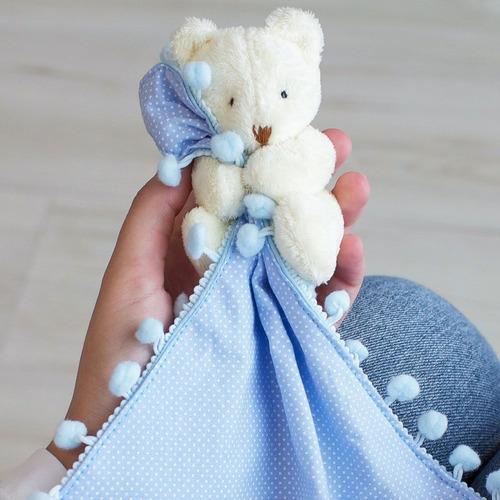 Naninha Pompom Com Prendedor De Chupeta Urso Poá Azul Bebê
