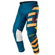 Calça ALPINESTARS Racer Braap Azul-petróleo/Laranja Promoção