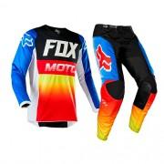 Conjunto FOX MX 180 Fyce Azul/vermelho Lançamento