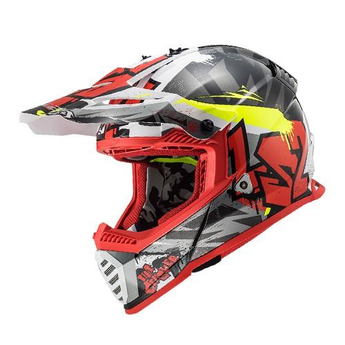 Capacete LS2 MX437 Fast Crusher Vermelho Amarelo