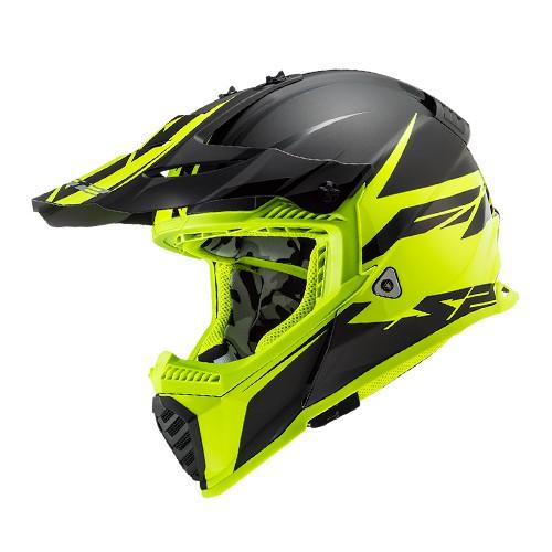 Capacete LS2 MX437 Fast Roar Preto Amarelo Flúor