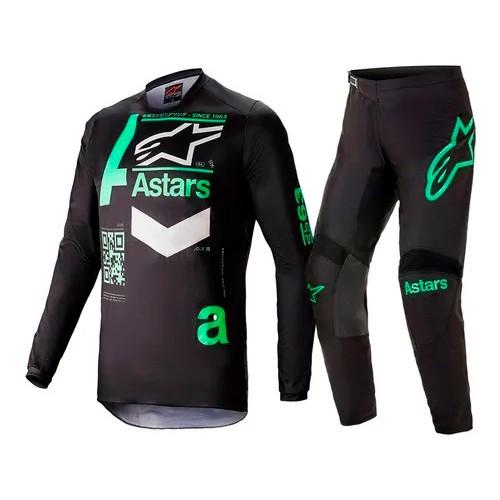Conjunto ALPINESTARS Fluid Chaser Camisa + Calça Verde Preto
