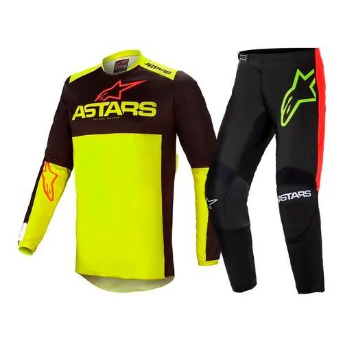Conjunto ALPINESTARS Fluid Tripple Camisa + Calça Amarelo-flúor Preto