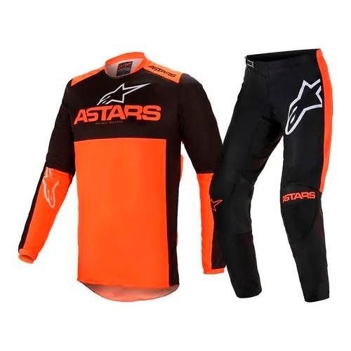 Conjunto ALPINESTARS Fluid Tripple Camisa + Calça Laranja Preto