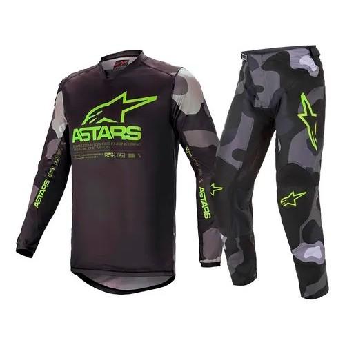 Conjunto ALPINESTARS Racer Tactical Camisa + Calça Amarelo-flúor Preto