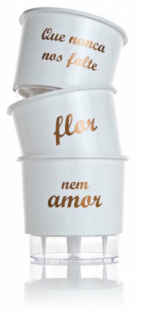 Conjunto 3 Vasos Autoirrigáveis P - Flor e Amor - Cor Branco - Vasos Raiz