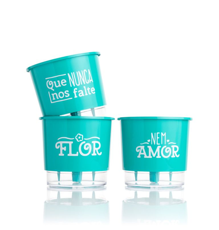 Conjunto 3 Vasos Autoirrigáveis P - Flor e Amor - Cor Verde - Vasos Raiz