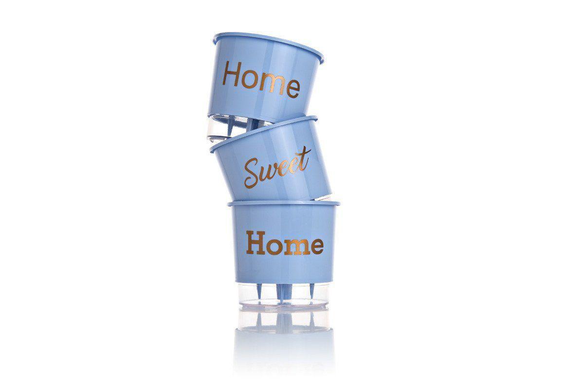 Conjunto 3 Vasos Autoirrigáveis P - Home - Cor Azul - Vasos Raiz