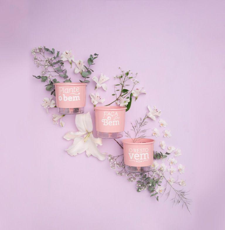 Conjunto 3 Vasos Autoirrigáveis P - Plante o Bem - Cor Rosa - Vasos Raiz