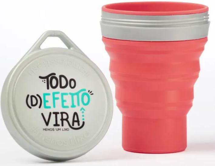 Copo Campanha Todo (D)efeito vira - Retrátil e Ecológico - 400 ml - Menos 1 Lixo - Melancia
