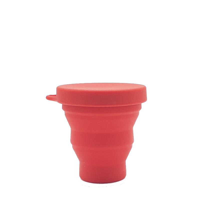 Copo Retrátil e Reutilizável de Silicone - Cor Vermelho - 200 ml - Silicup