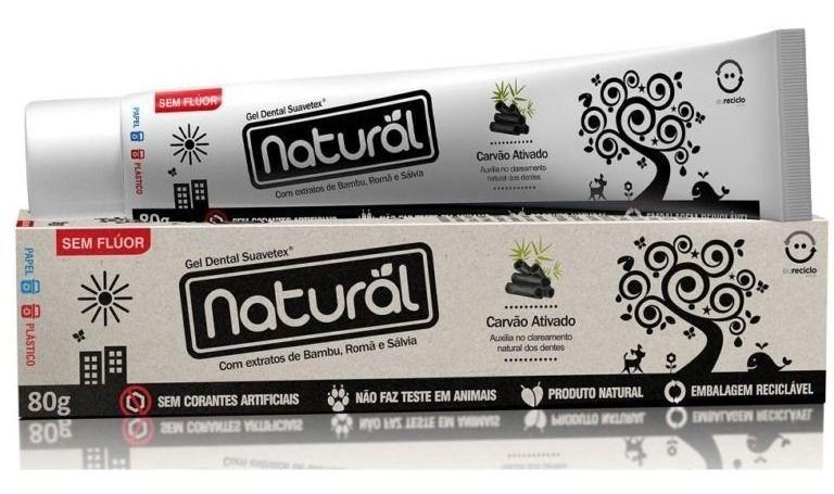 Creme Dental Natural Suavetex com Carvão Ativado, extratos de Bambu, Romã e Sálvia 80g