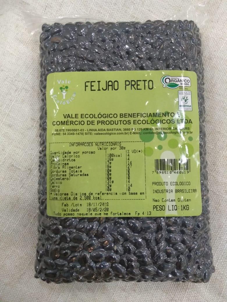 Feijão Preto Orgânico 1kg - Vale ecológico