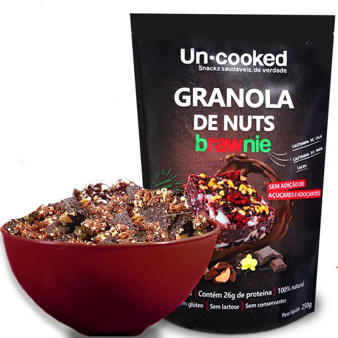 Granola Sem Glúten de Castanhas com pedaços de Brawnie - 250g - Uncooked
