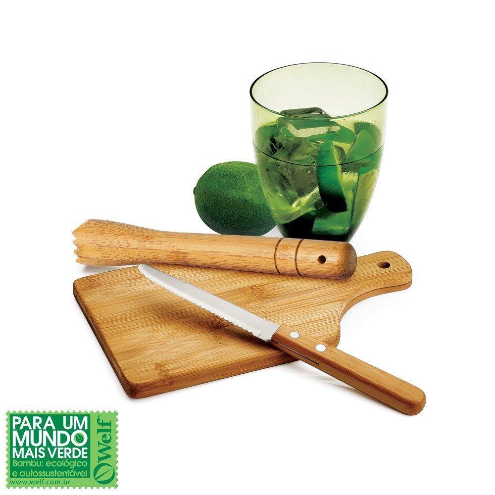 Kit Caipirinha Ecológico em Bambu 4 Peças - Welf