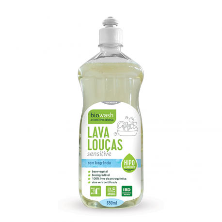 Lava Louças Natural e Biodegradável - Sensitive - 650ml - BioWash