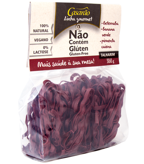 Massa Talharim de Arroz, Beterraba, Banana Verde, Caiena Sem Glúten 300g - Casarão