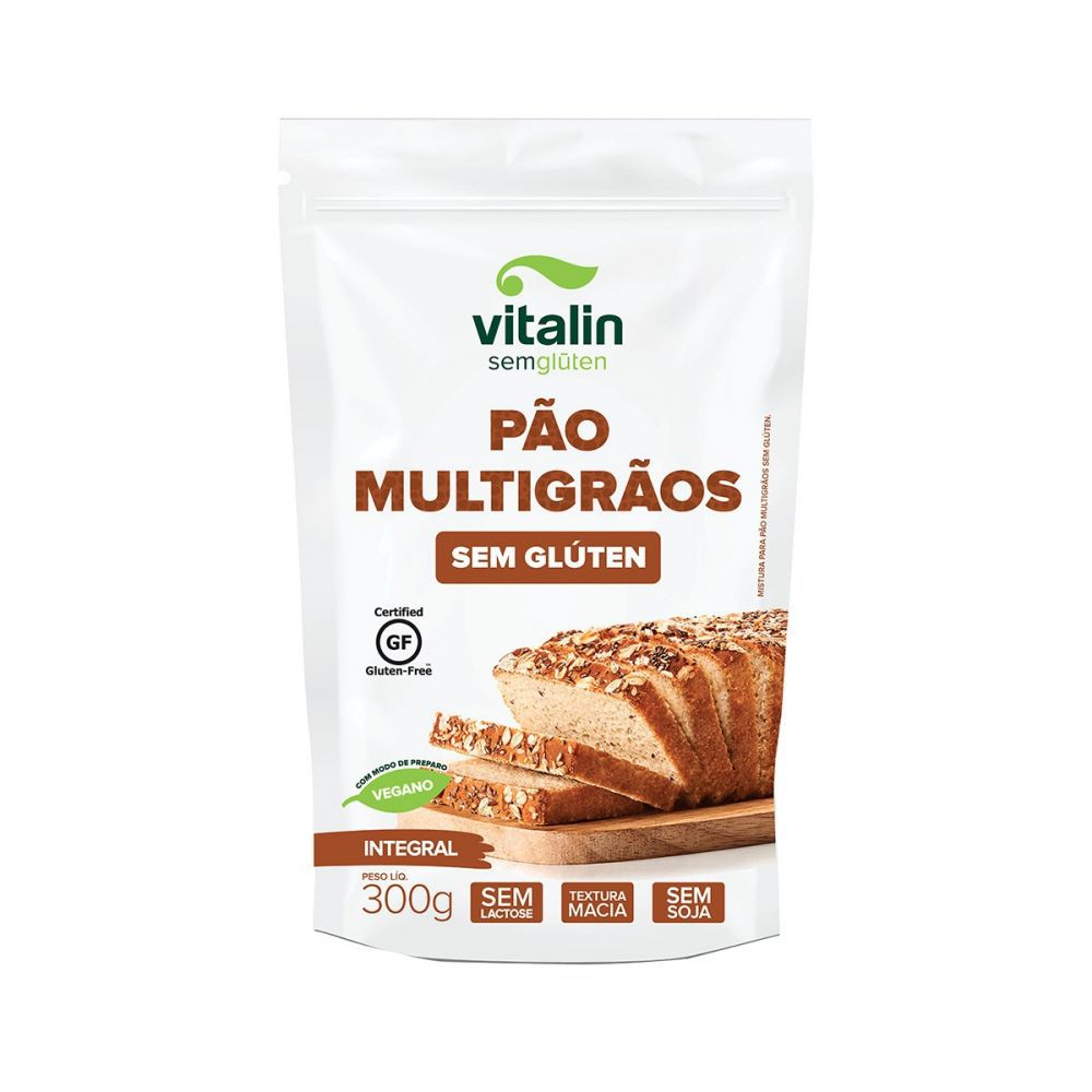 Mistura Integral para Pão Multigrãos Sem Glúten 300g - Vitalin