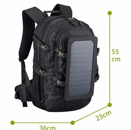 Mochila com Placa Solar + PowerBank - Cor Preta - Ecosoli