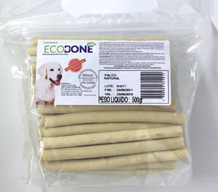 Ossinho Palito para cachorro 100% vegetal 8mm 500 g - EcoBone