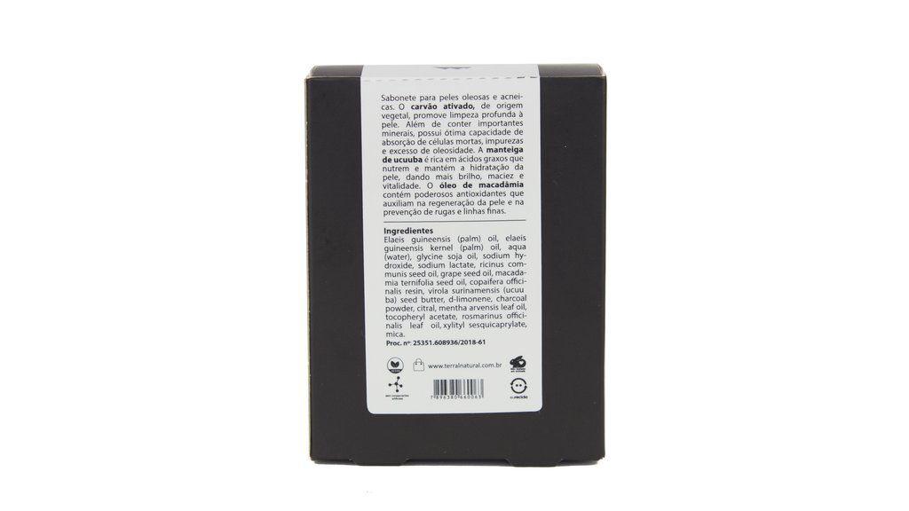 Sabonete Natural e Vegano - Carvão Ativado de Bamboo - 130g - Terral