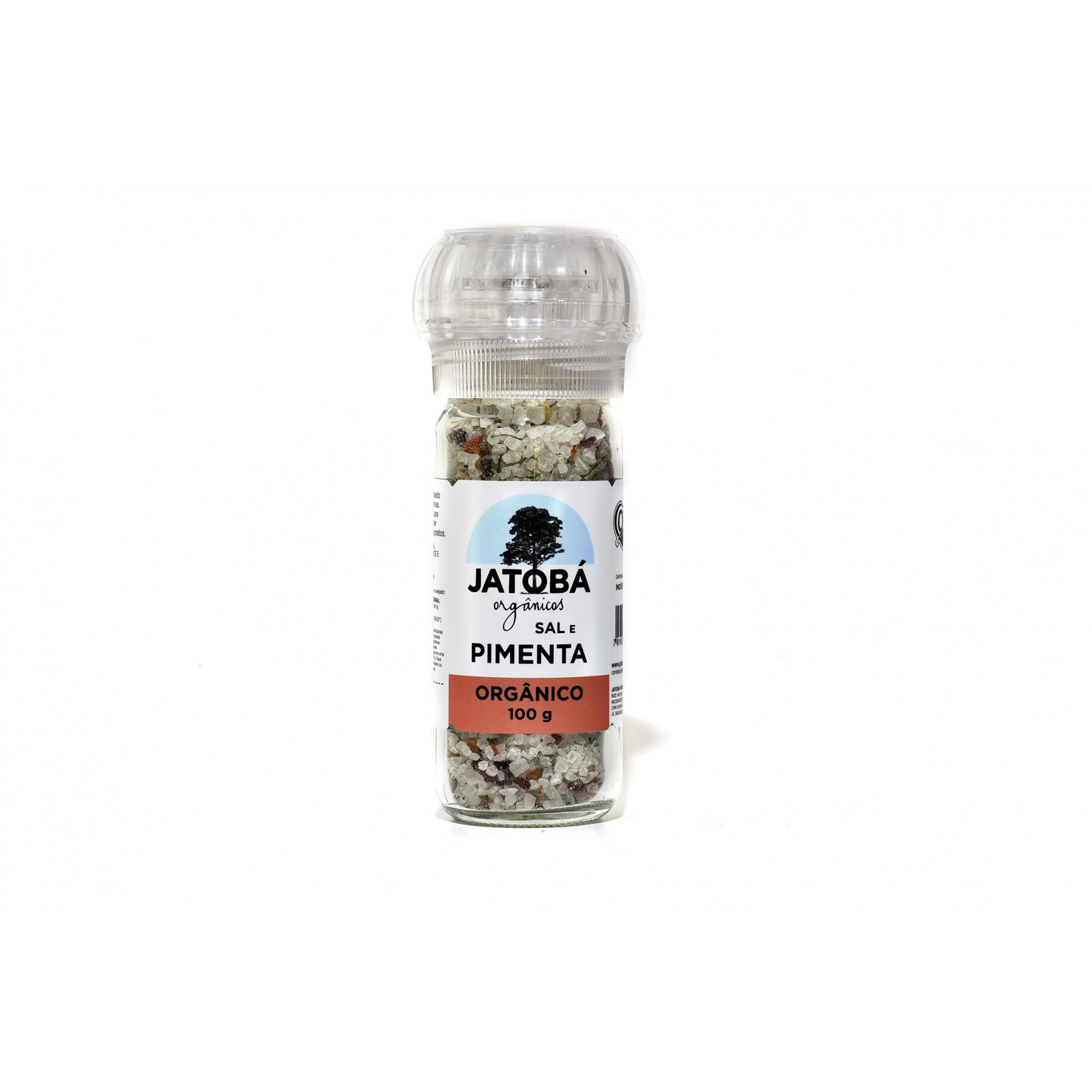 Sal e Pimenta Orgânico com Moedor - 100g - Jatobá