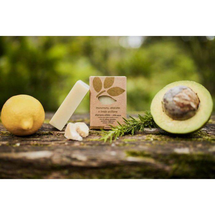 Shampoo Sólido Vegano Murumuru Abacate e Limão Siciliano - Ares de Mato