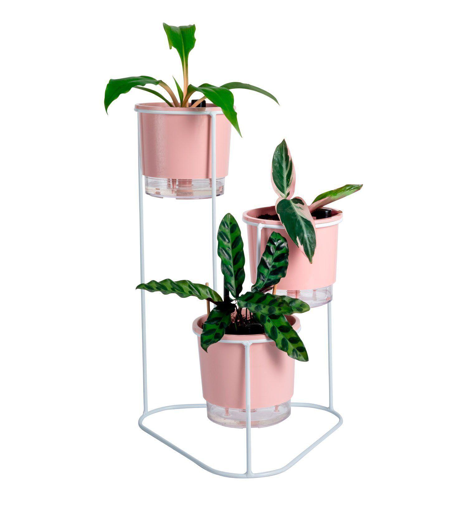 Suporte Aramado Cascata Branco 40cm para vasos pequenos - Raiz