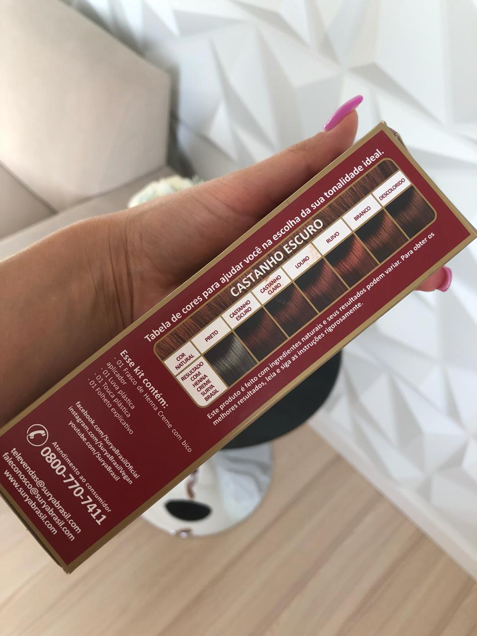 Tintura Natural para Cabelo - Henna Creme Castanho Escuro 70ml - Surya Brasil