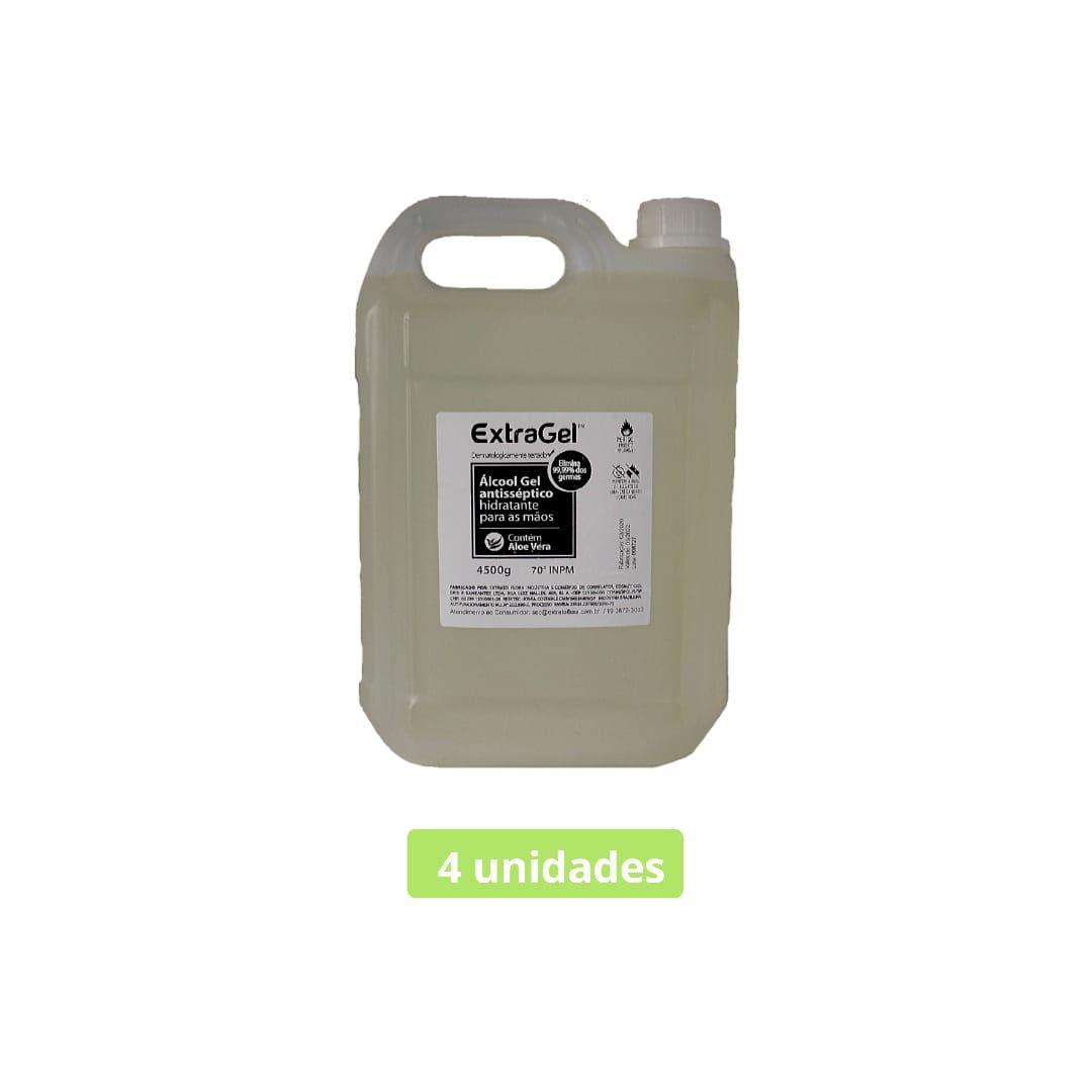 álcool gel 70º antisséptico galão 4500 gramas 4 unid.