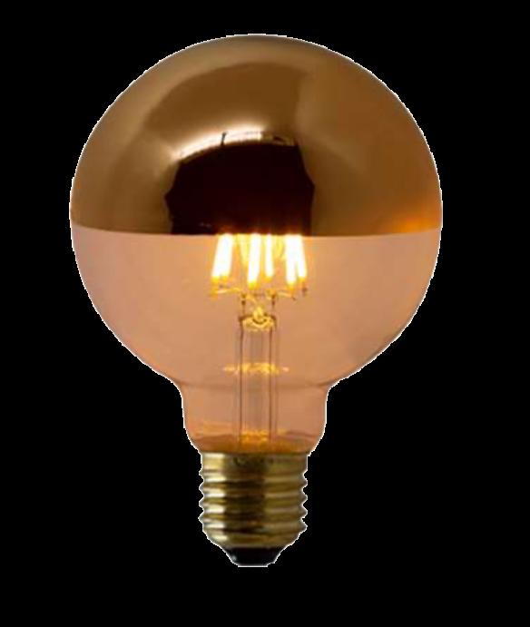 Lampada de Filamento LED G95 Defletora 6W - Dourada