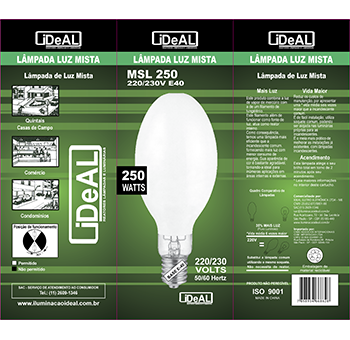 250 w e40 lampada Ideal mista  - Multiplus Store