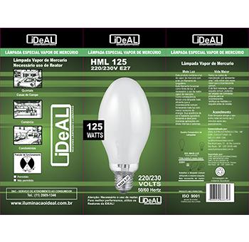 125w e27 lampada Ideal vapor mercúrio  - Multiplus Store