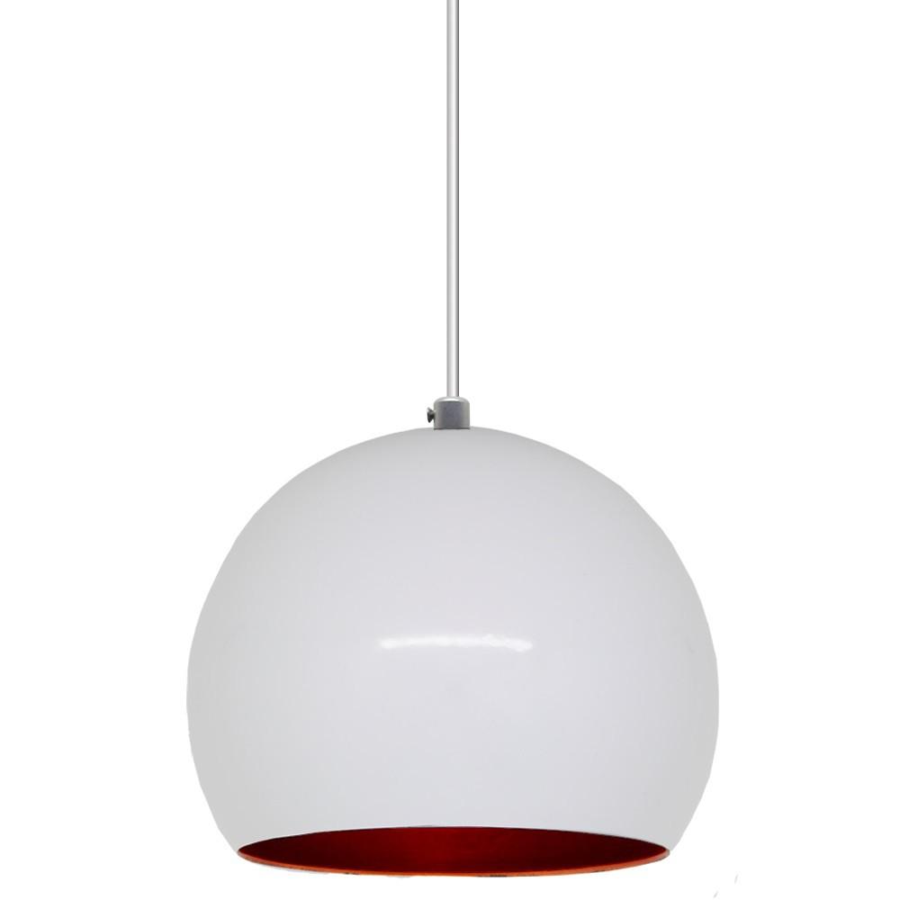 Pendente Bola 14cm Branco c/ Cobre Interno - Sciaza  - Multiplus Store