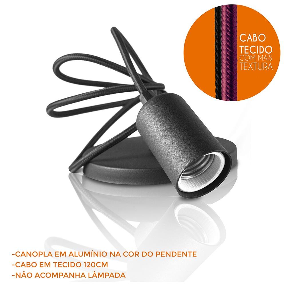 Pendente Fio Soquete Slim Cabo Tecido Cobre - Vertical  - Multiplus Store