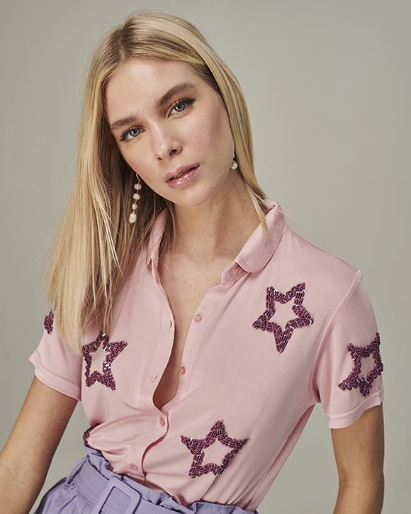 camisa stars rosa bebe