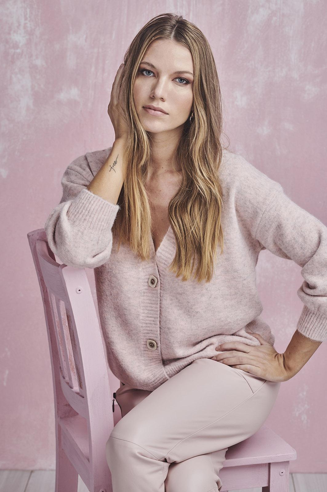 cardigan decote v rosa