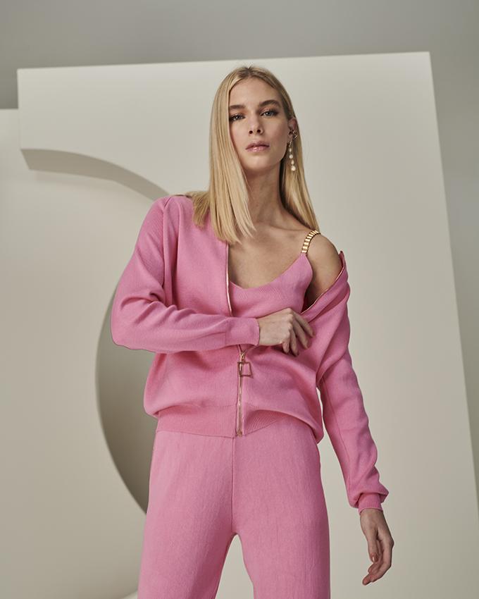 conjunto tricot neon rosa