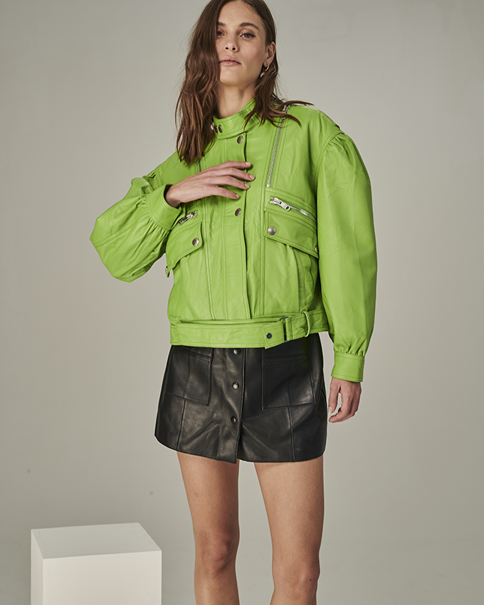 jaqueta Bale couro verde