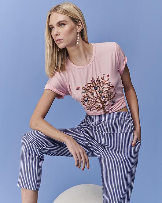 t-shirt rose balon butterfly