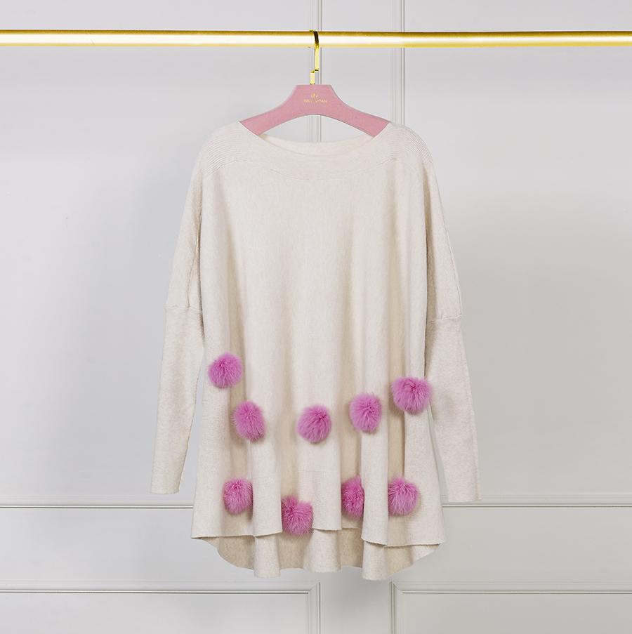 tricot pompom rosa