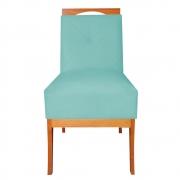 Cadeira Estofada Antonela Sala de Jantar Sala Estar Recepção Escritório Salão D'classe Decor Suede Azul Tiffany